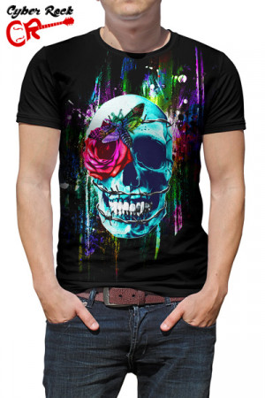 Camiseta Skulls Wired Rose and Moth