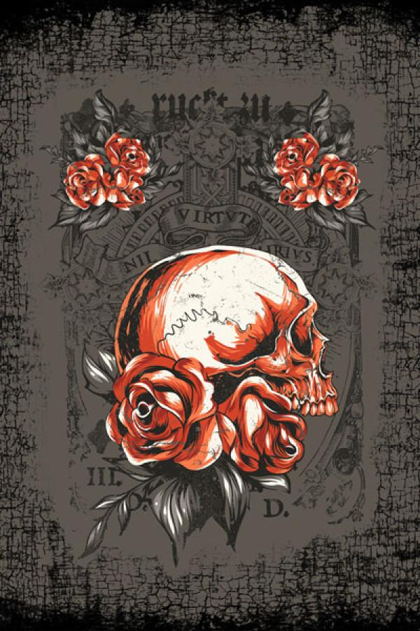 Camiseta Tatoo Roses and Skull