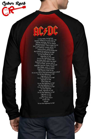 Raglan Manga Longa AC DC Highway to Hell