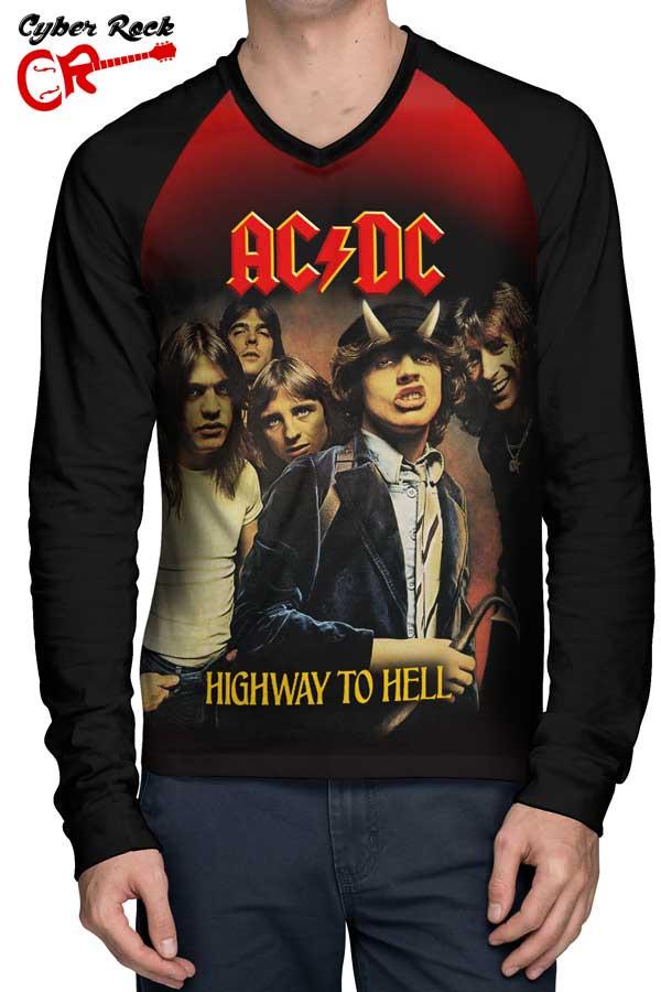 Raglan manga longa AC DC Highway to Hell