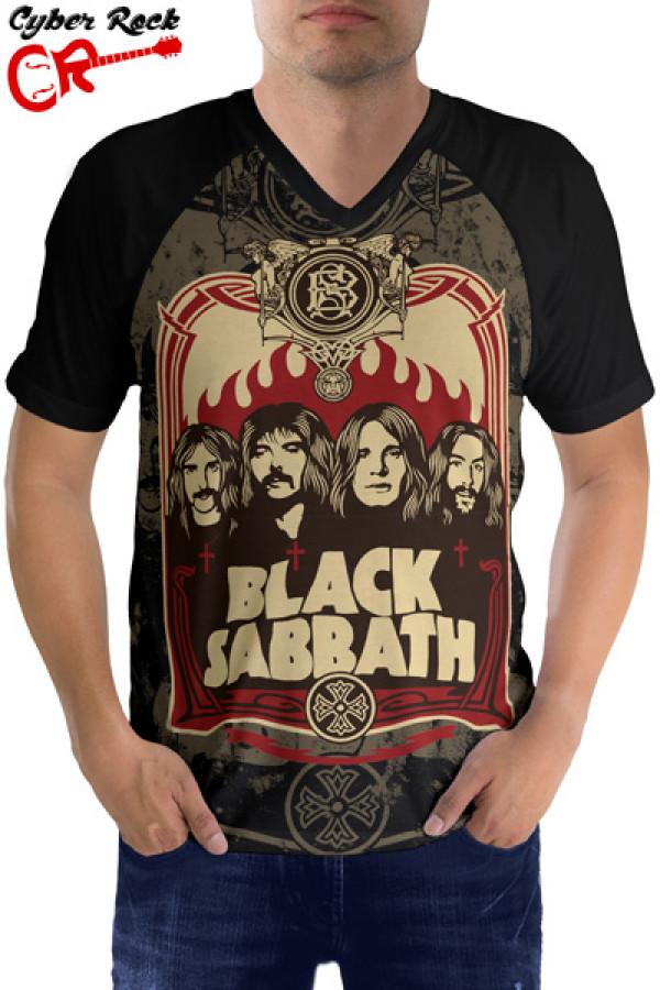 Camiseta Raglan Black sabbath manga curta