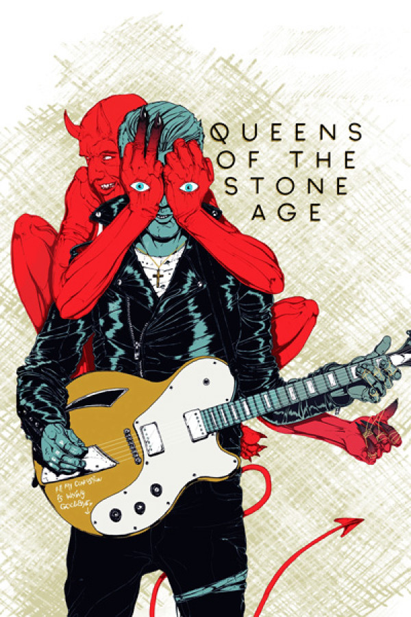 Camiseta Queens of the Stone Age Villains Branca