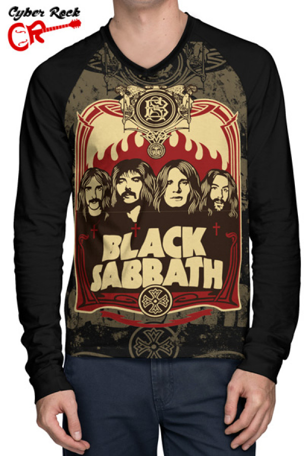 Camiseta Raglan Black Sabbath Manga Longa