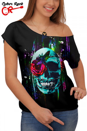 Blusinha Skull Wired Rose and Moth