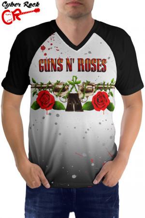 Camiseta Raglan Guns n Roses manga curta