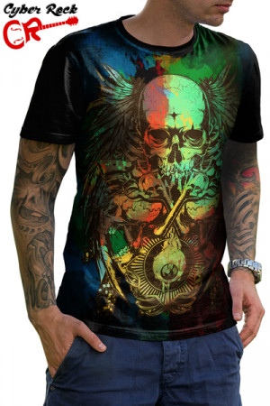Camiseta Tatoo Eyes Guns and Bones