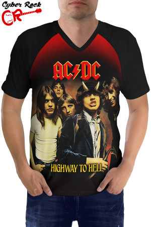 Raglan manga curta AC DC Highway to Hell