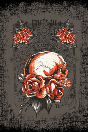 Camiseta Tatoo Roses and Skull